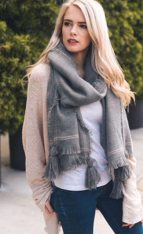Long Gray Tassel Frayed Blanket Scarf - Luxury Emporio