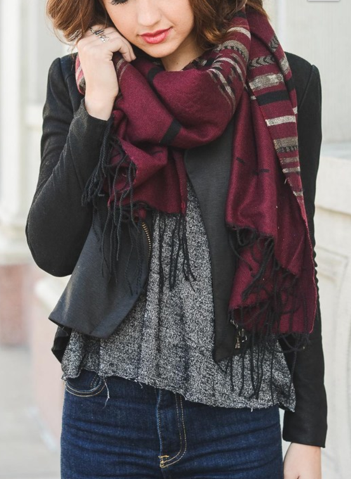 Burgundy Native Boho Tassel Scarf-Luxury Emporio