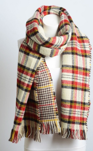 Red, Black & Ivory Classic Plaid Blanket Scarf - Luxury Emporio