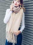 Super Soft Blush Ombre Knit Tassel Scarf - Luxury Emporio