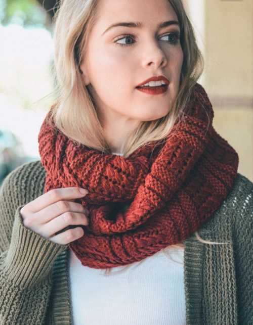 Red Ribbed Knit Infinity Scarf-Luxury Emporio