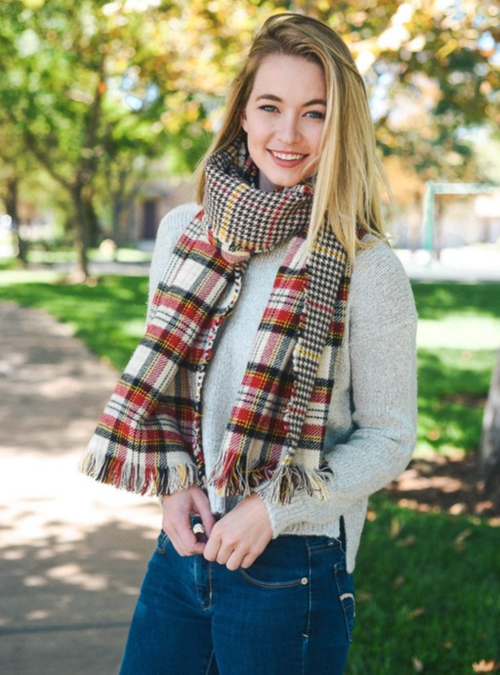 Red, Black & Ivory Classic Plaid Blanket Scarf
