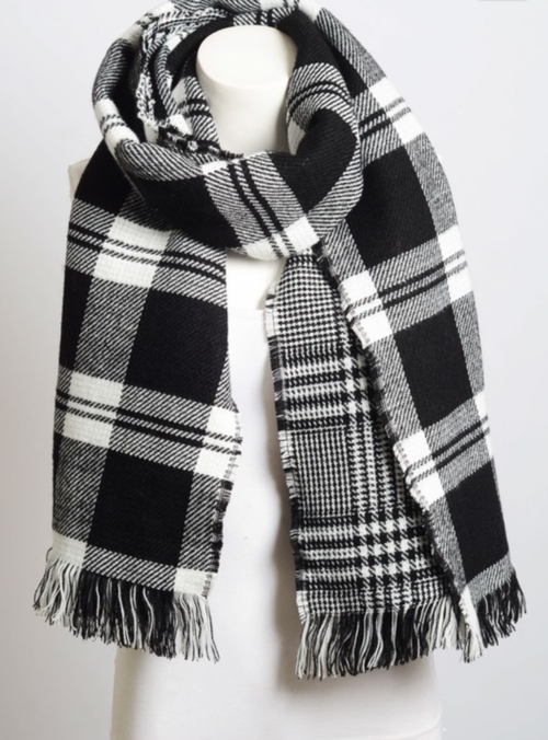 Black & White Classic Plaid Blanket Scarf - Luxury Emporio