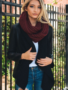 Beautiful Burgundy Chunky Braided Infinity Scarf - Luxury Emporio