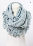 Beautiful Pointelle Fringe Infinity Scarf - Comes - Luxury Emporio