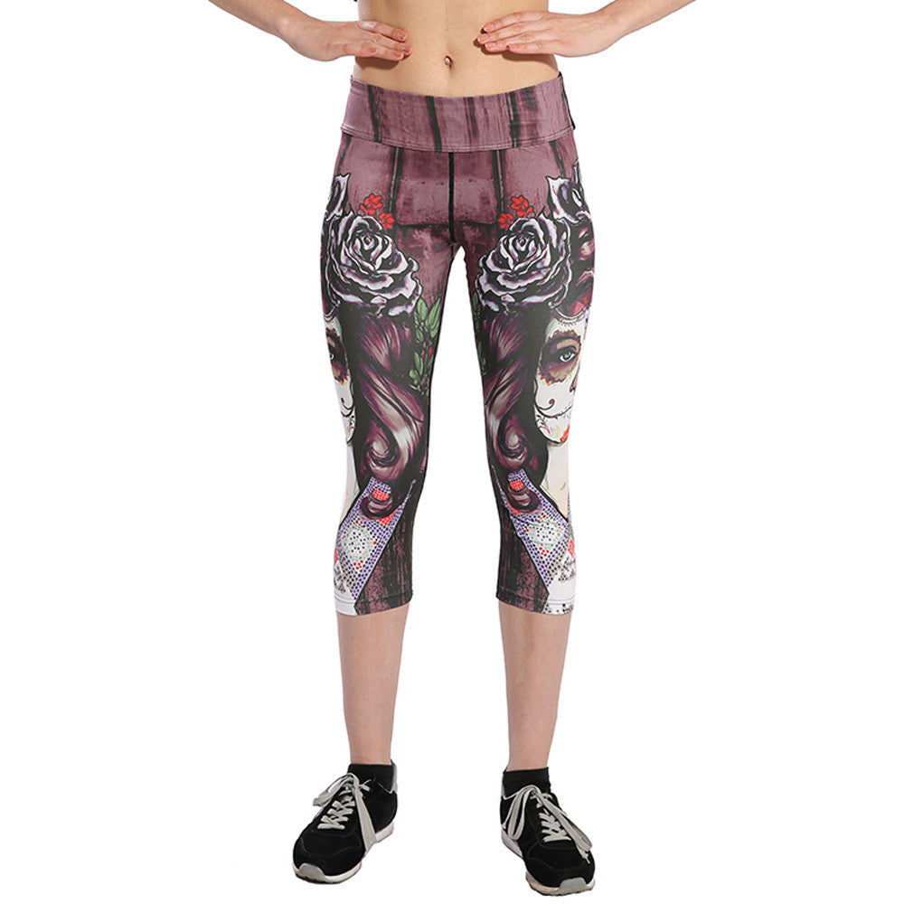 Skull Print Pants with Cropped Leggings - High waist Stretched for Gym yoga and Fitness workouts - Luxury Emporio