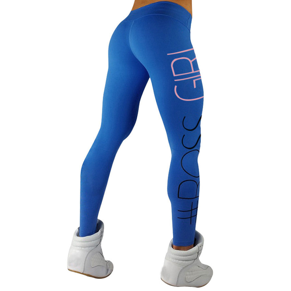 High Waist Boss Girl Sports Gym Yoga Running Fitness Leggings Pants Athletic Trouser - Luxury Emporio