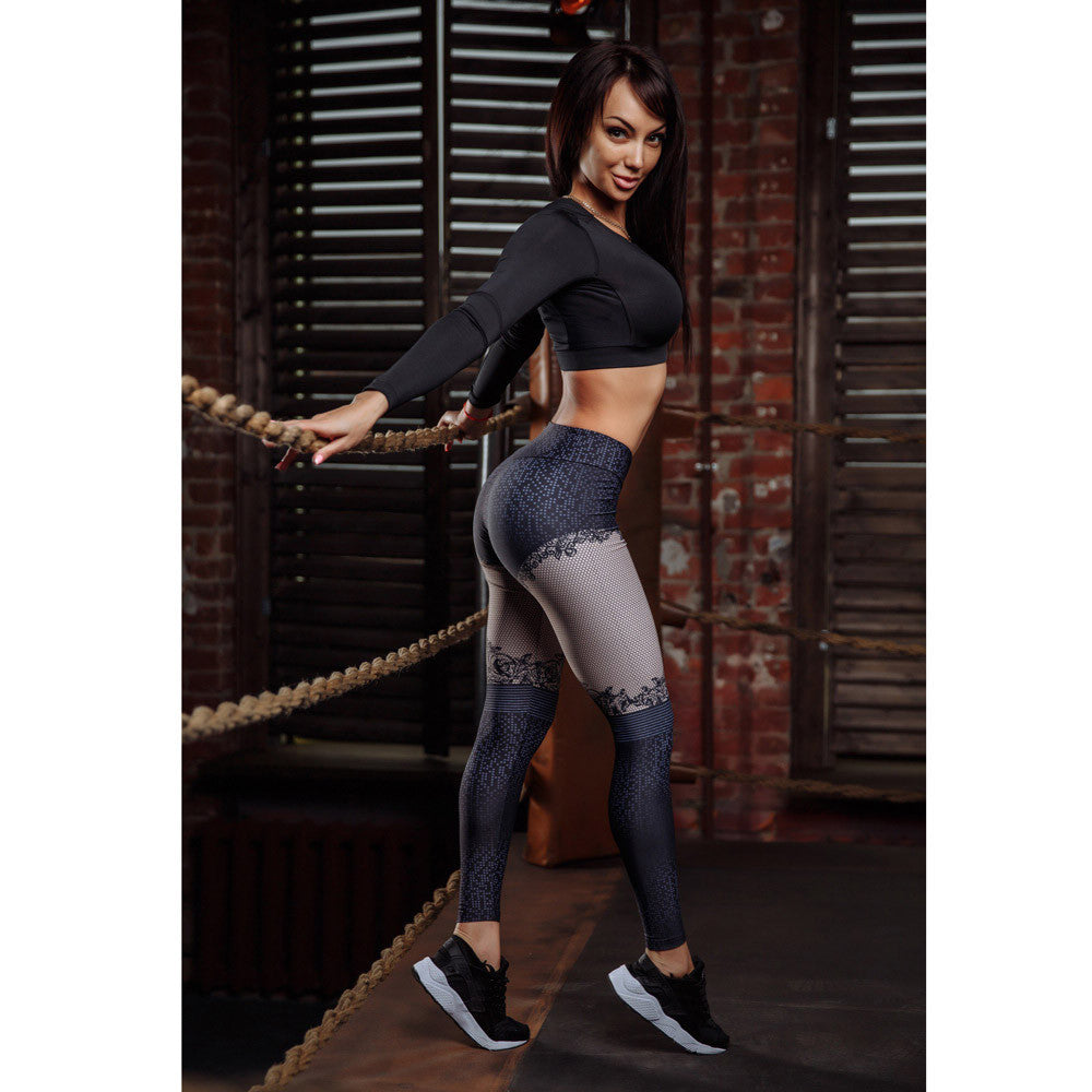 Fitness Elastic Leggings for Women Sports Gym Yoga Workout Mid Waist Running Pants - Luxury Emporio