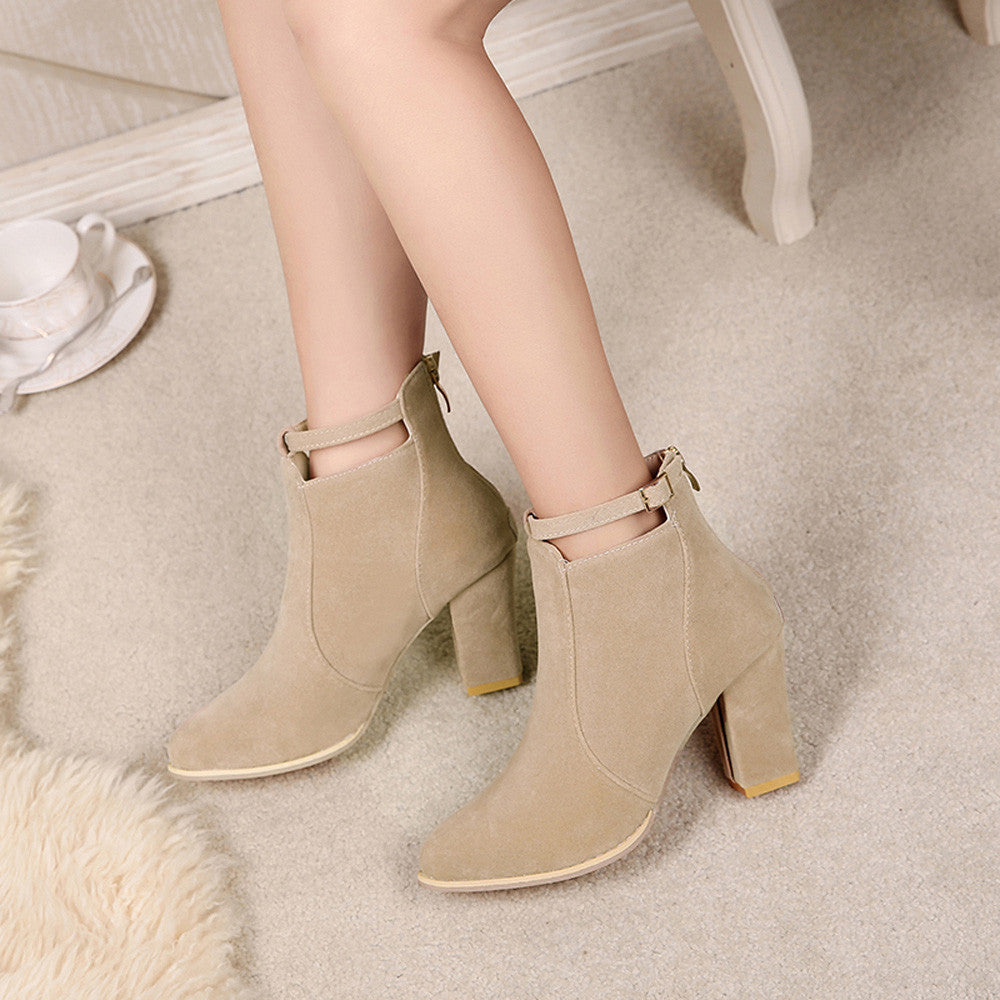 Warm High Heel Ankle Boots for Women-Luxury Emporio