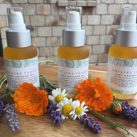50mls  natural Baby massage oil. Infused with lavender, chamomile and calendula that hydrates and nourishes delicate skin