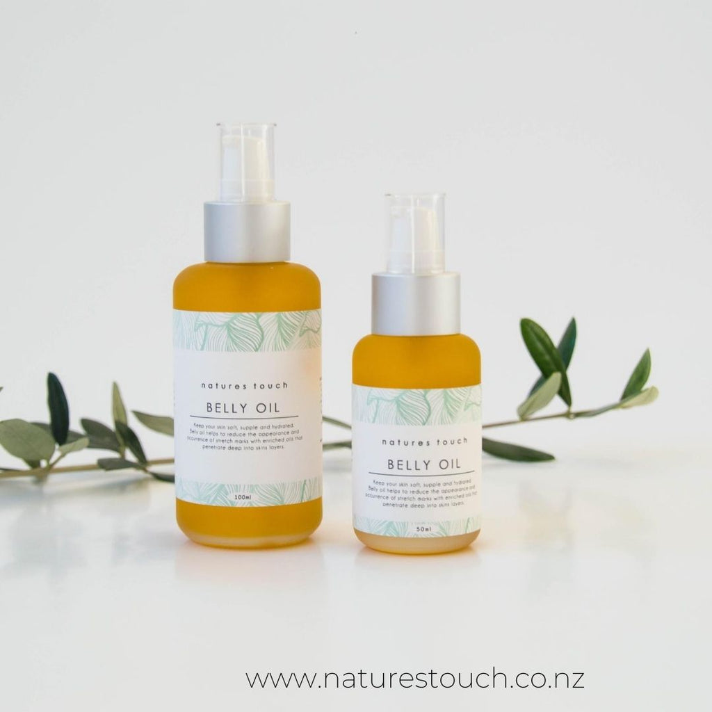 50ml or 100ml pump bottle of Natures Touch belly oil,  to nourish and hydrate skin and reduce the occurrence of stretch marks