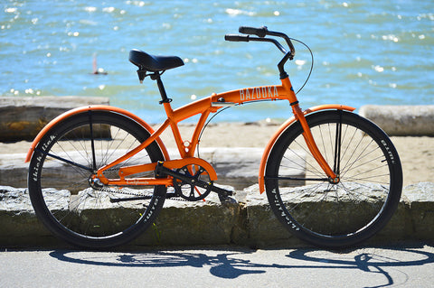 Bazooka folding beach cruiser bike with carbon belt drive