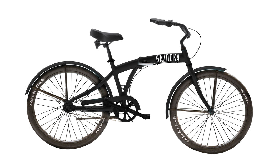 Bazooka Bike Folding Beach Cruiser Bike in black-California 3 Model with 3 Speed Shimano internal Hub and Gates Belt Drive