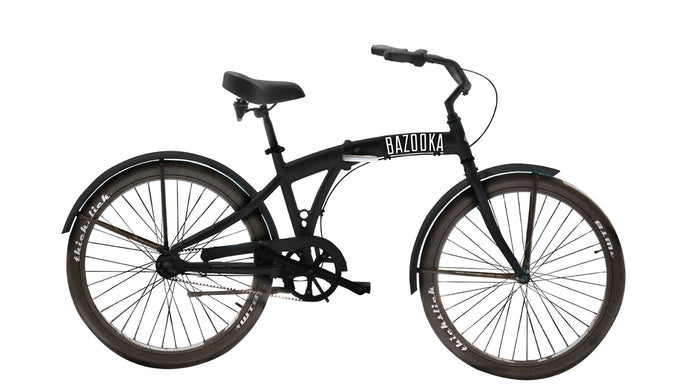 Bazooka Bike Folding Beach Cruiser Bike in black-California 8 Model with 8 Speed Shimano internal Hub and Gates Belt Drive