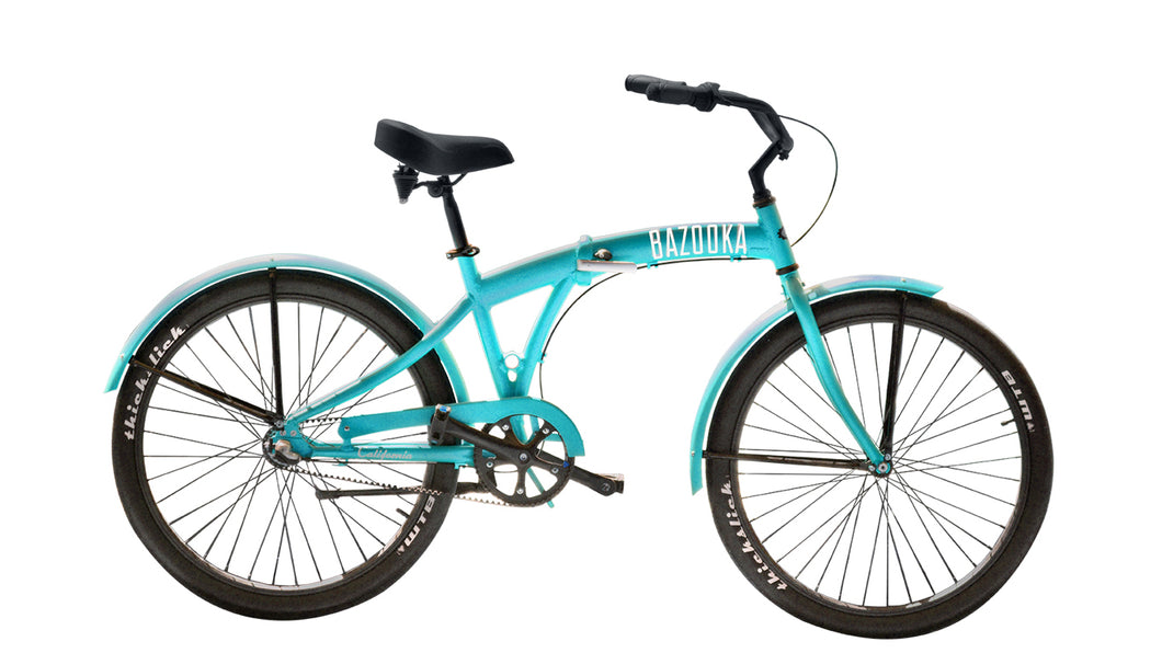 Folded Bazooka Bike Folding Cruiser in Blue - California 3 Model with 3 Speed Shimano internal Hub and Gates Belt Driv