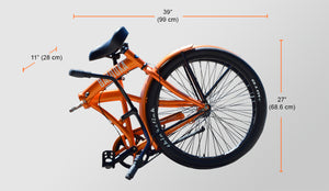 Folded Bazooka Bike Folding Cruiser in orange - California 3 Model with 3 Speed Shimano internal Hub and Gates Belt Drive