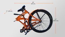 Folded Bazooka Bicycle Folding Cruiser in orange -California 3 with 3 Speed Shimano internal Hub and Gates Belt Drive