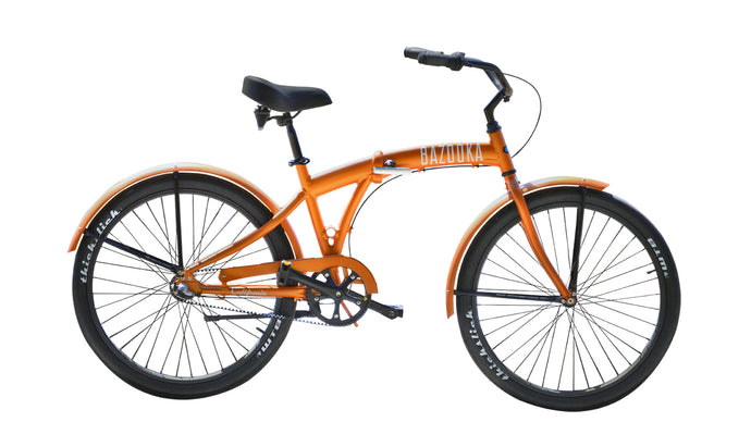 Bazooka Bike Folding Beach Cruiser Bike in Orange-California 8 Model with 8 Speed Shimano internal Hub and Gates Belt Drive