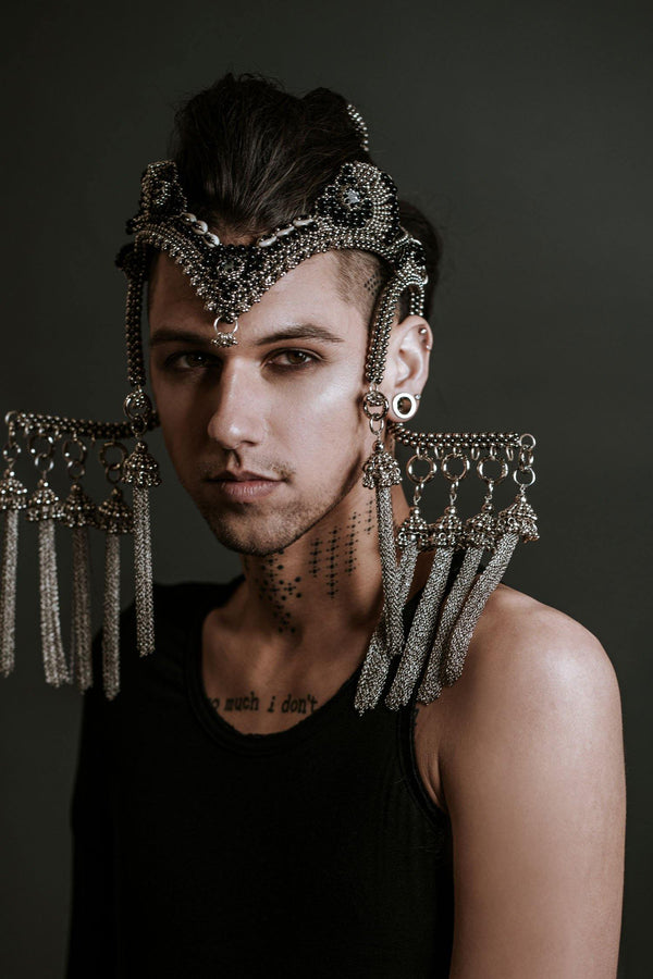 Jas Modular Headpiece System with Beaded Chain Tassels