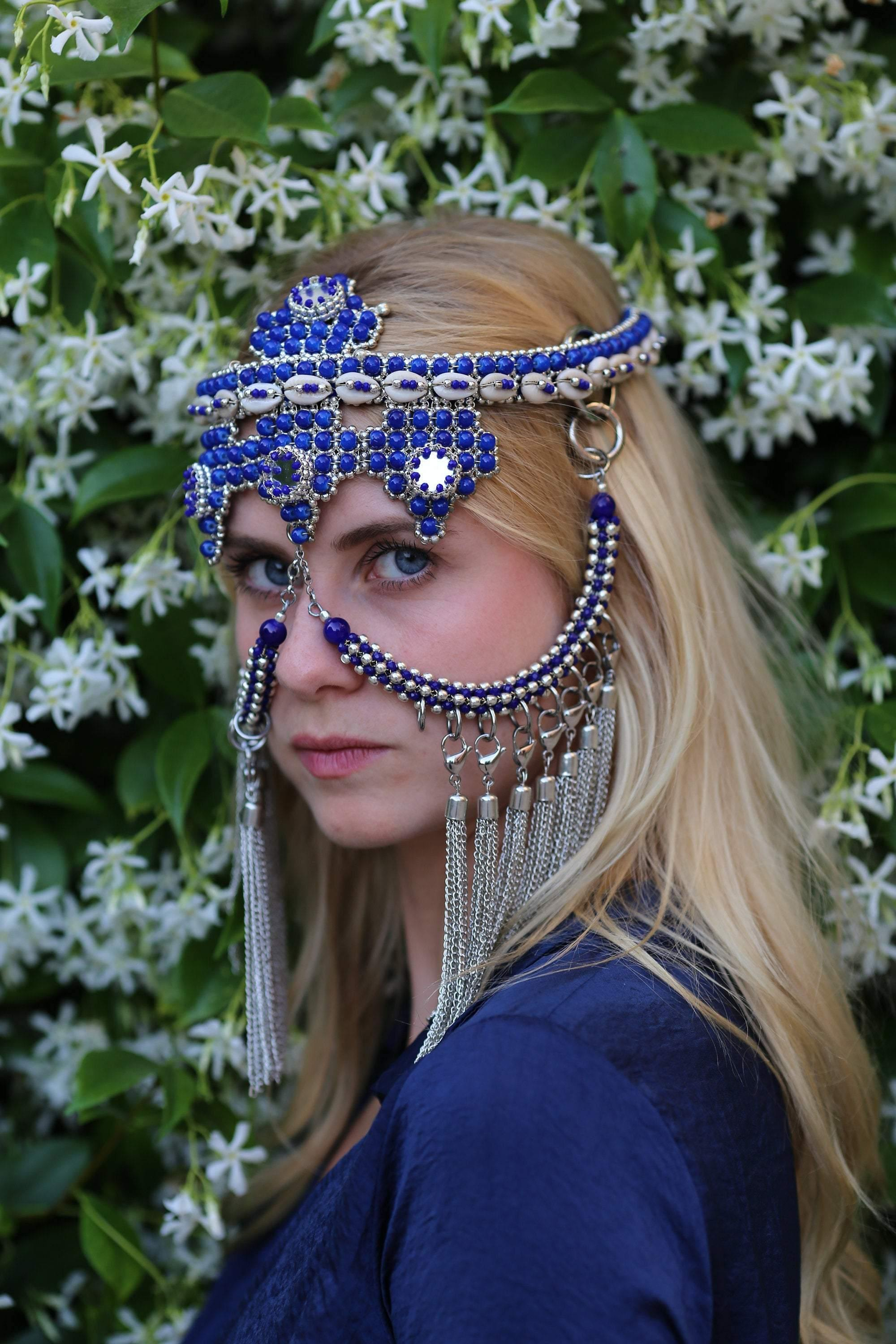 Elohim Modular Headpiece System, in Blue
