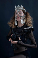Elohim Modular Headpiece System with White Tassels - Object & Dawn