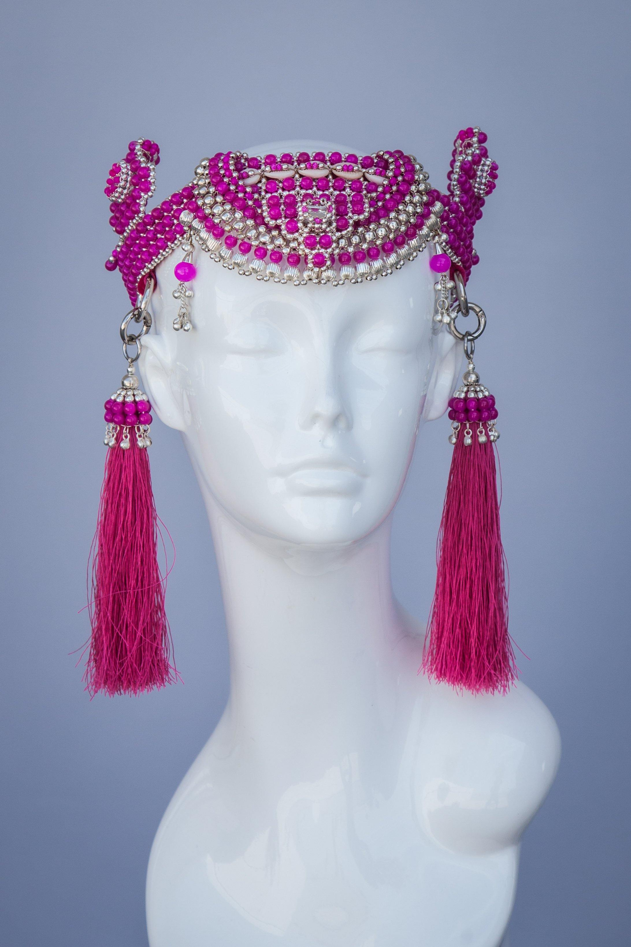 Anais Modular Crown with Tassels - Pink