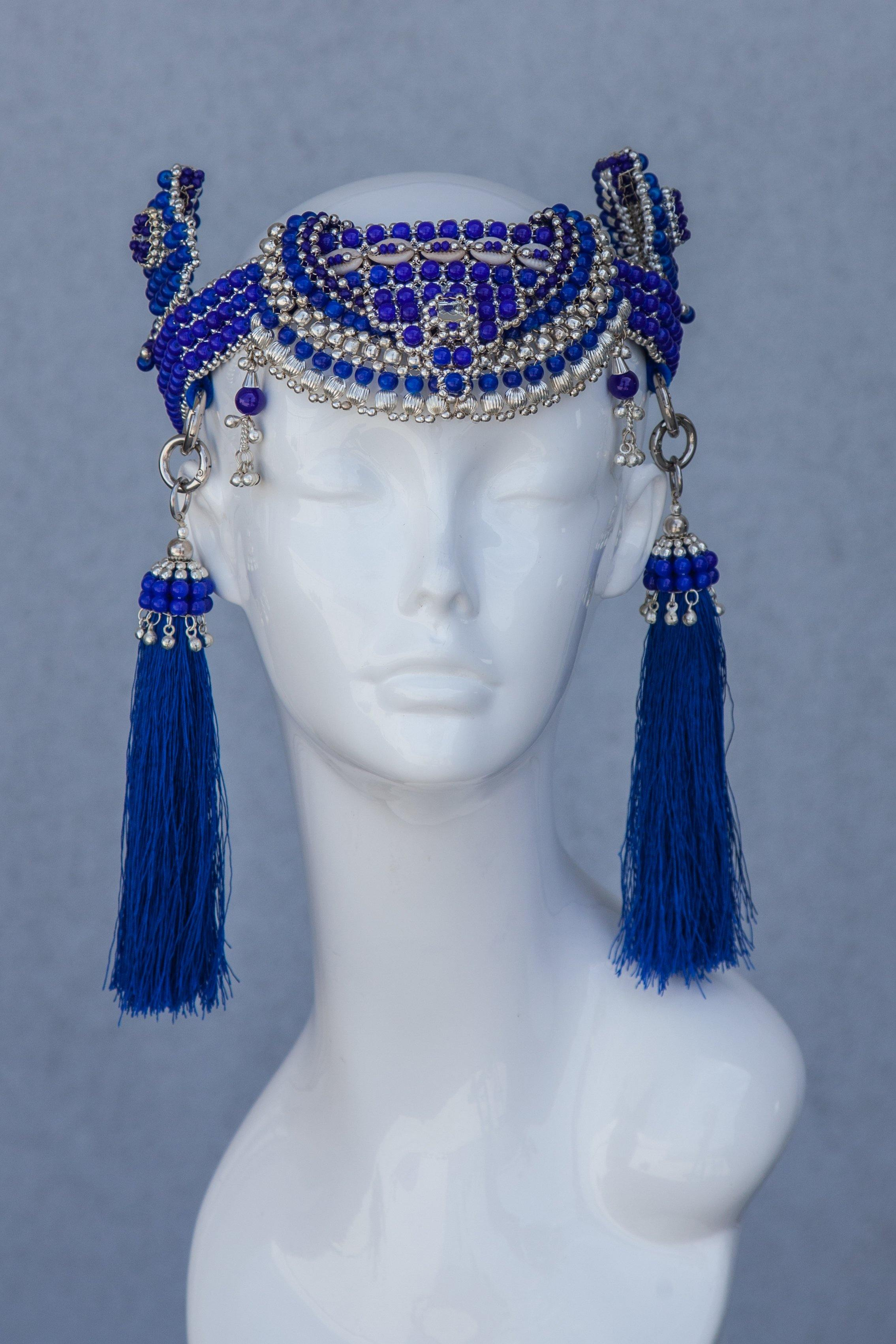 Anais Modular Crown with Tassels - Blue