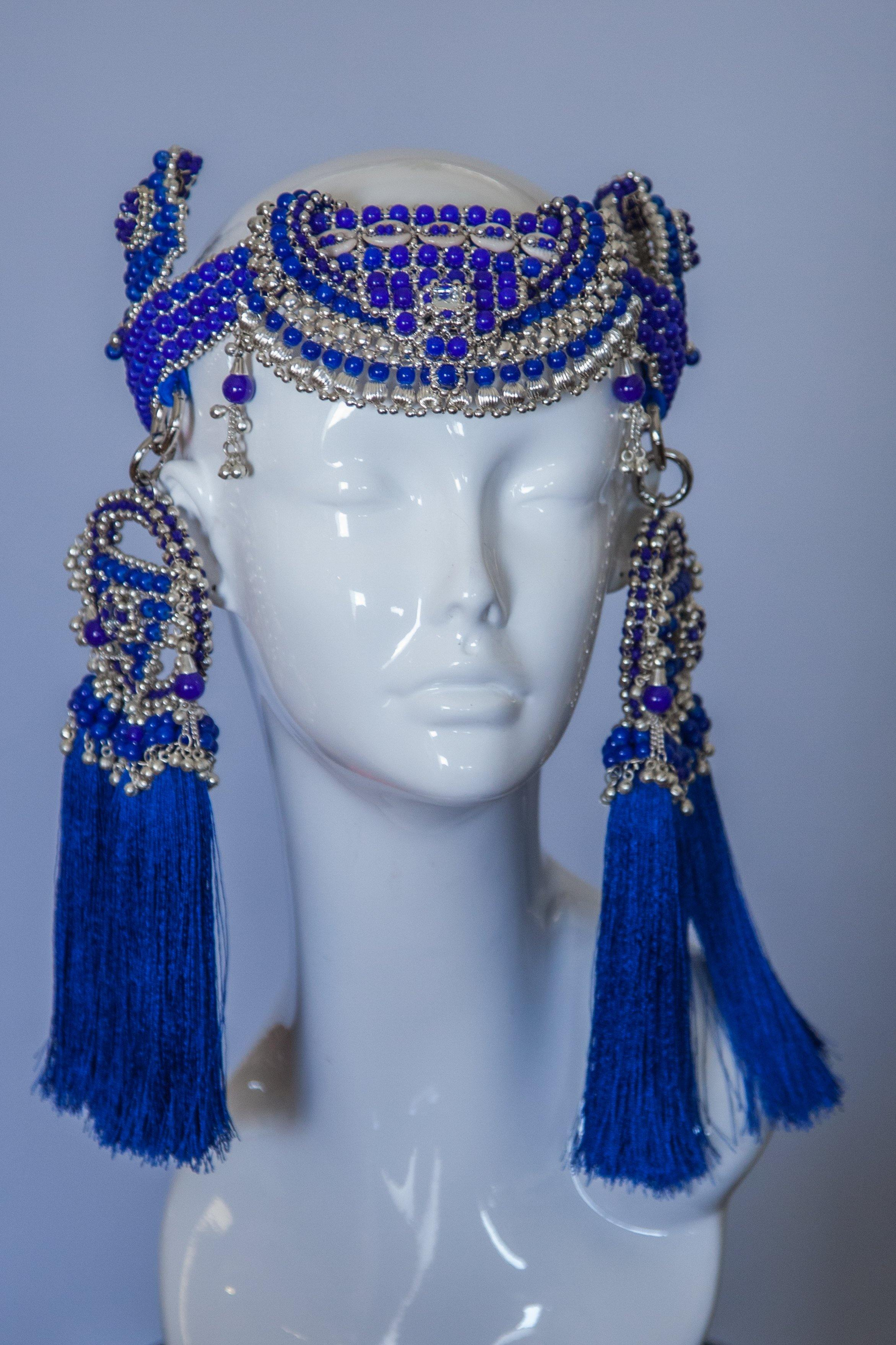 Anais Modular Headpiece System- Blue