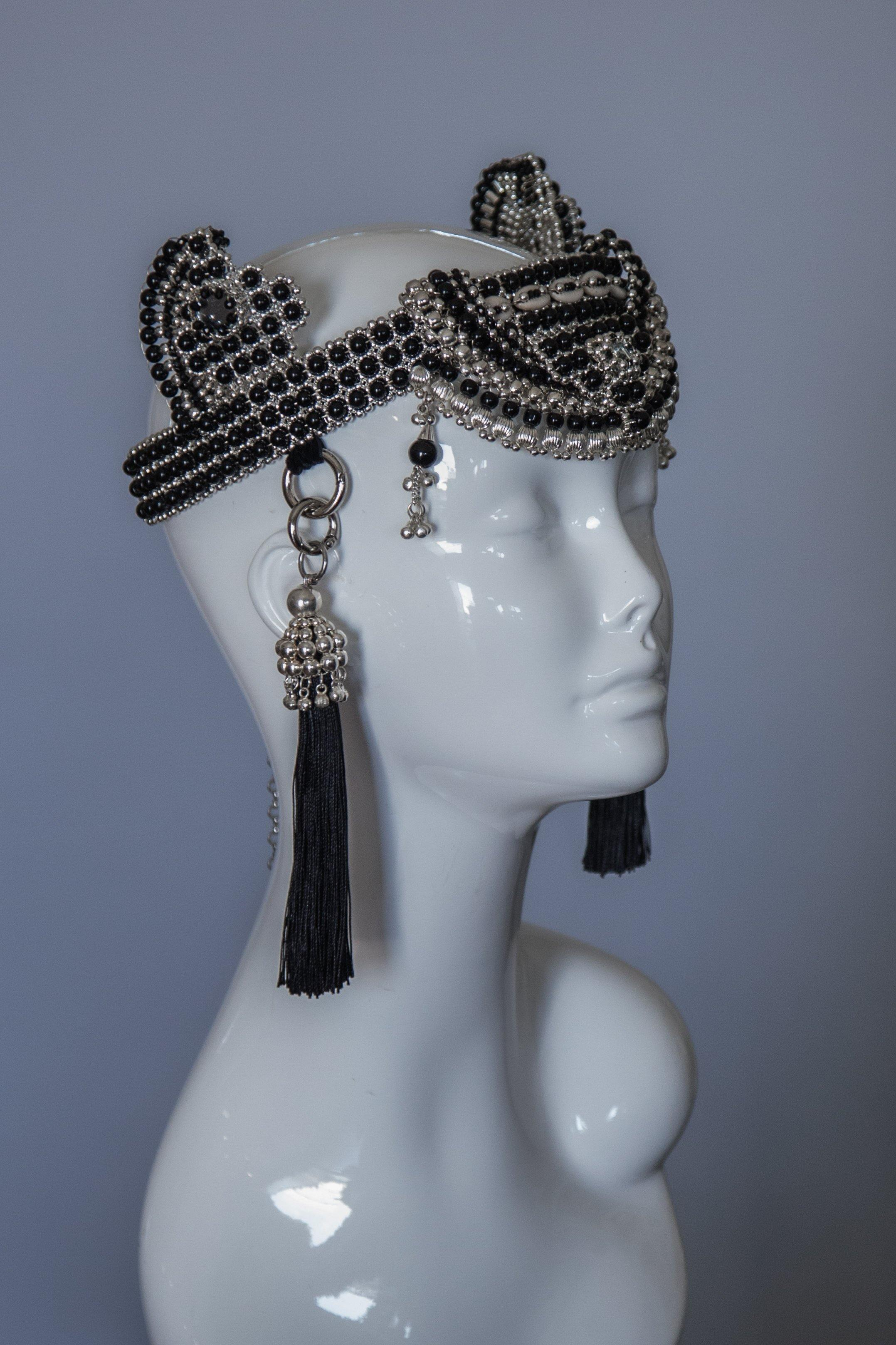 Anais Modular Crown with Tassels - Onyx