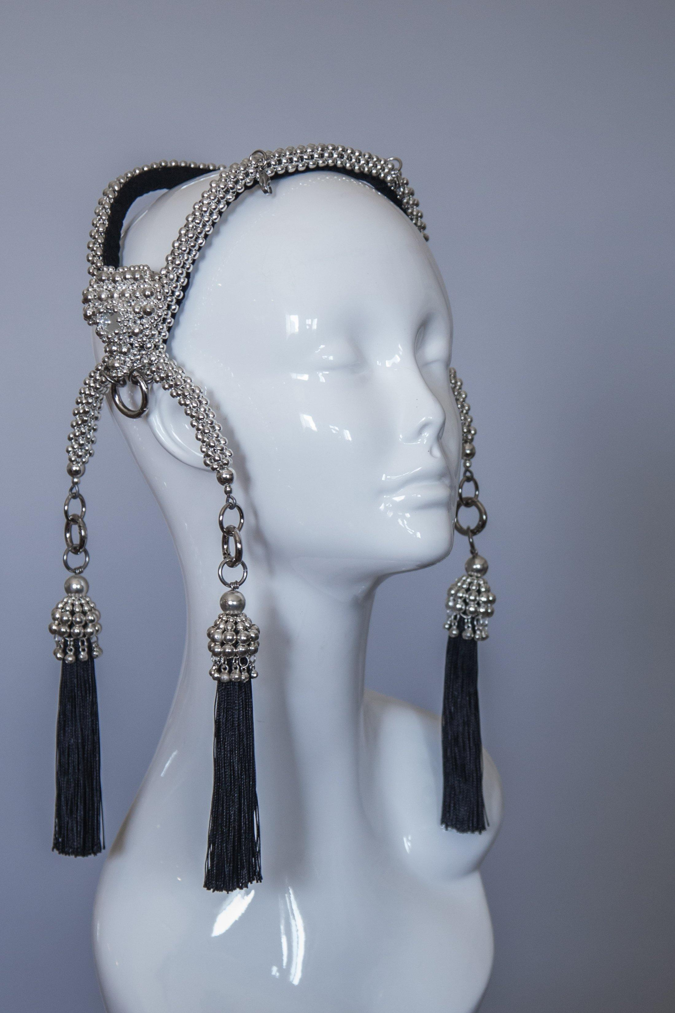 Khutulun Modular Headpiece System with 4 Blk Tassels & Face Bar