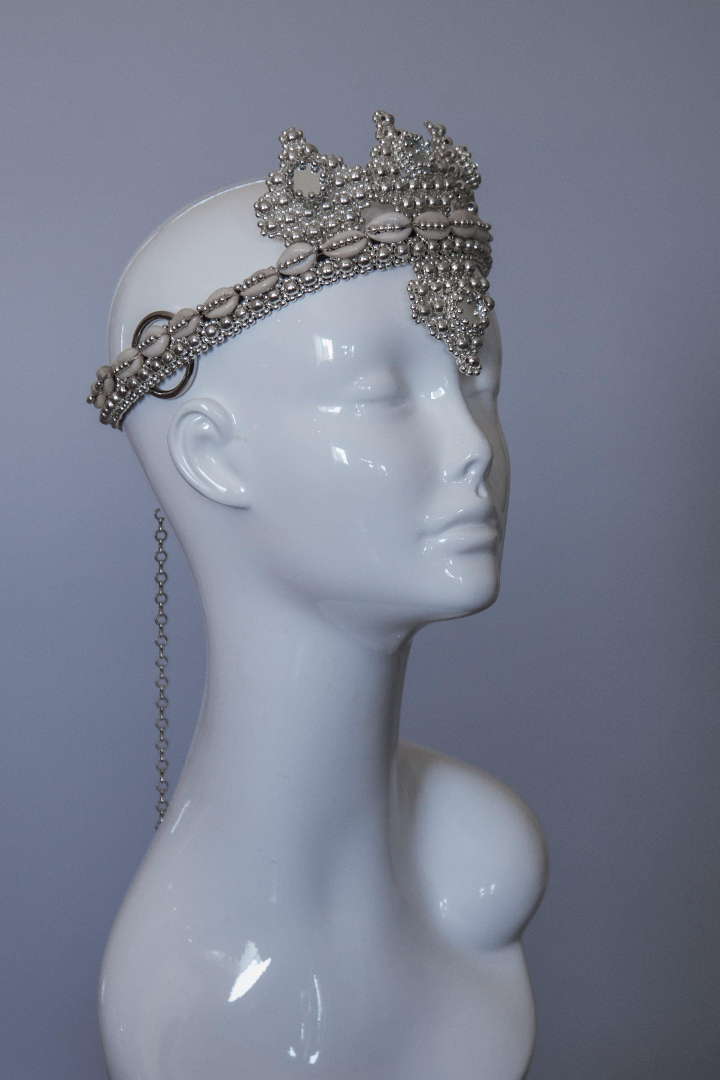 Elohim Modular Headpiece System with White Tassels