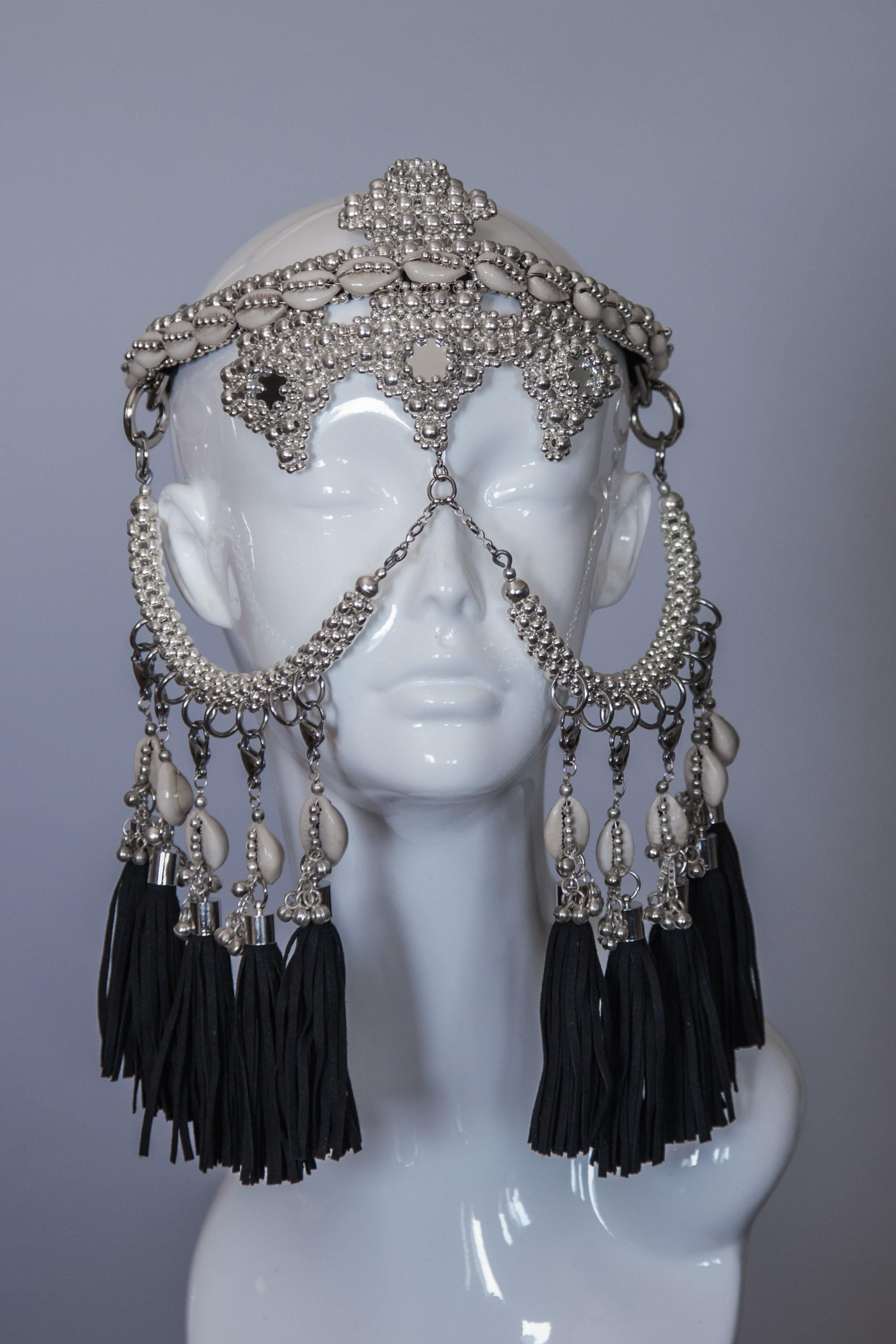 Elohim Modular Headpiece System with Black Tassels
