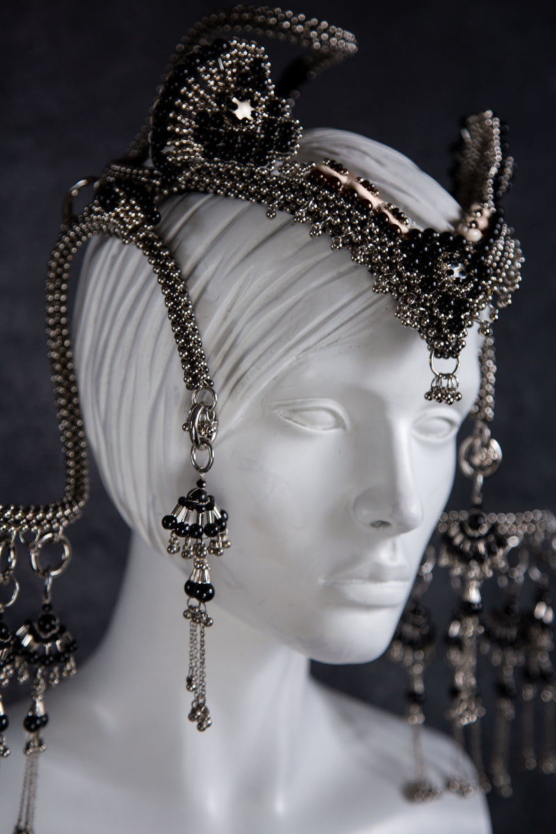 Jas Modular Headpiece System w/10 Fan Tassels, Face Chain, 2 Side Moons