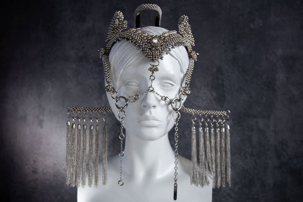Jas Modular Headpiece System w/ Face Chain, 2 Half-Moons