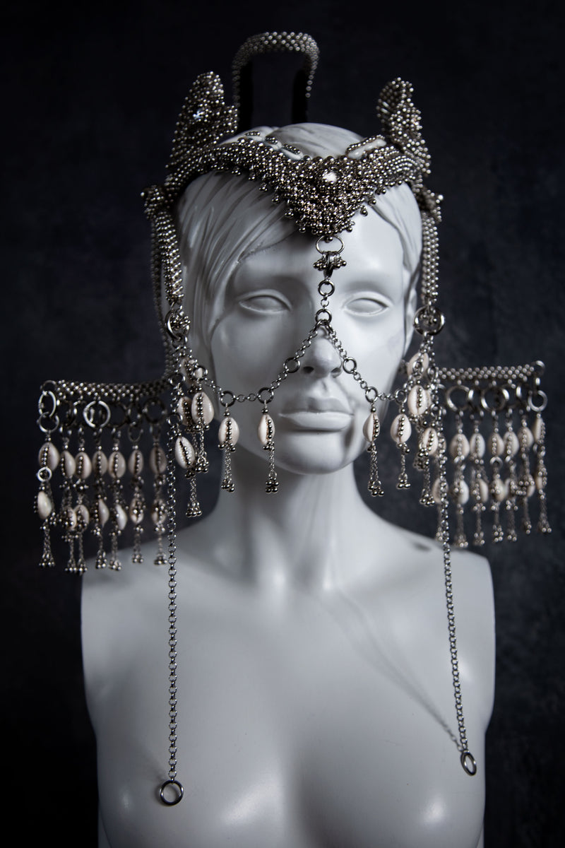 Jas Modular Headpiece System w/Face Chain & Cowrie Shell Tassels