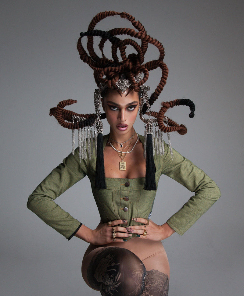 Jas Modular Headpiece System with Extra Long Tassels - Object & Dawn