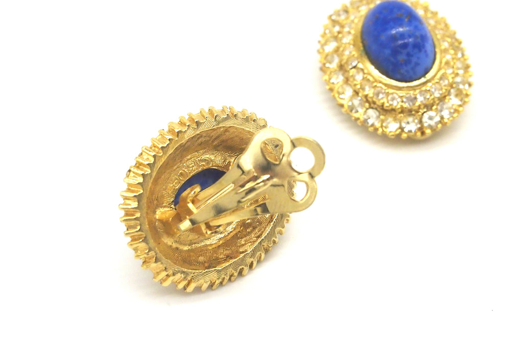 Vintage Jewellery | Earrings - Blue Rhinestones 1950-60s