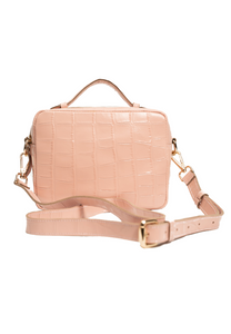 SALE Betsy Box Bag Pink Croc-stamped