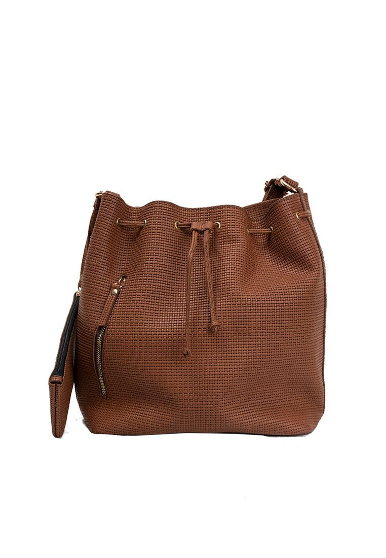 SALE Stella Bucket Bag in Camel (Weave)
