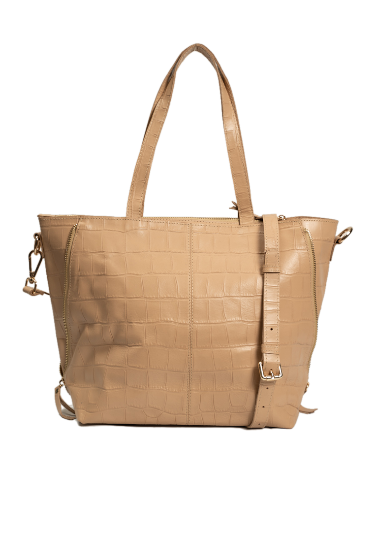 SALE Brooklyn Mini Tote in Beige Croc-stamped