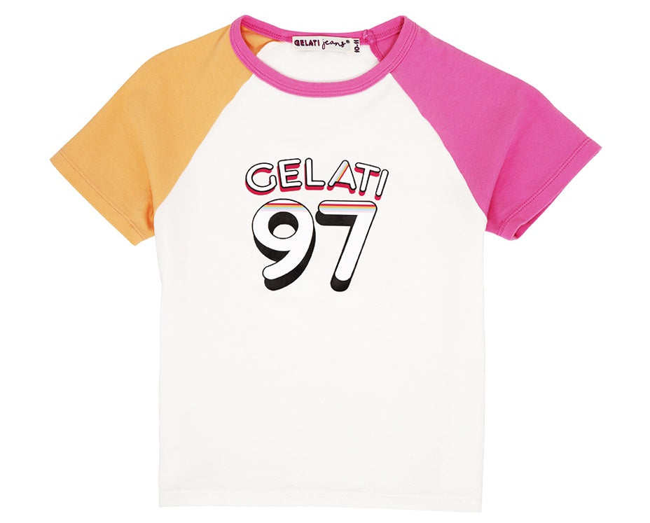 teenage girl raglan shirt in pink orange with graphic print