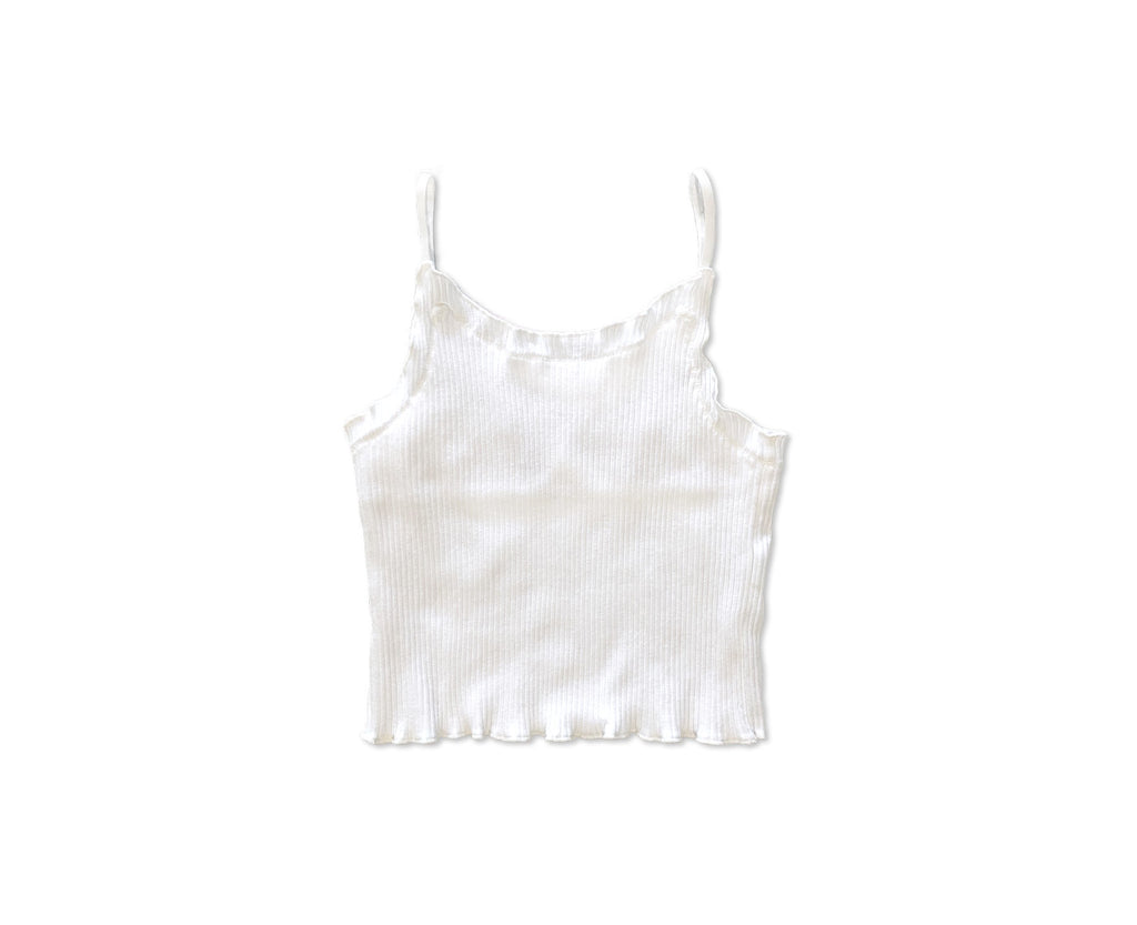 White ribbed cami for teen girls with baby lock hems