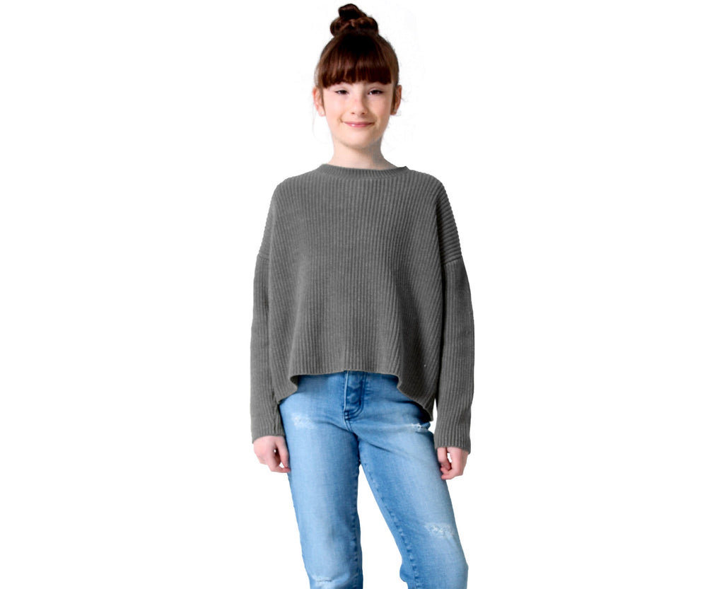 teen girl knitted knit jumper in charcoal