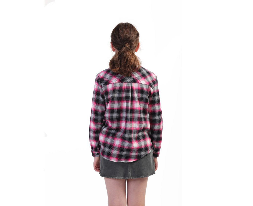 teen girl wearing a flannelette check shirt in pink with silver lurex thread