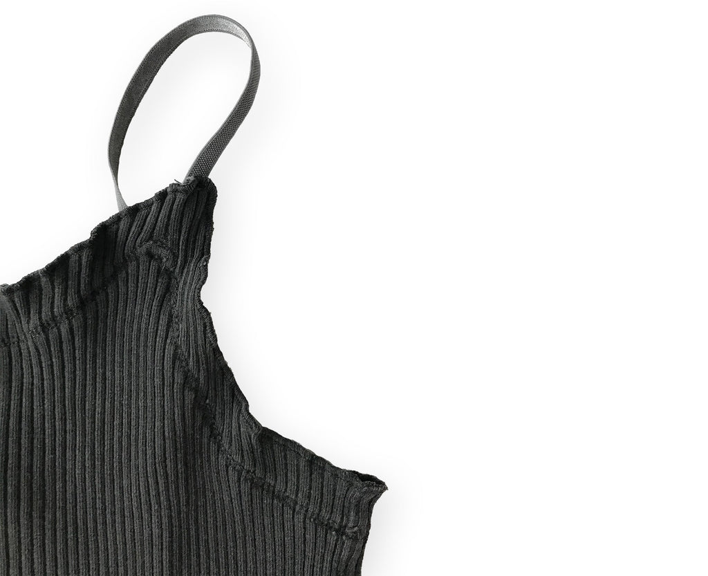 detail of ribbed cami in black for youth girls