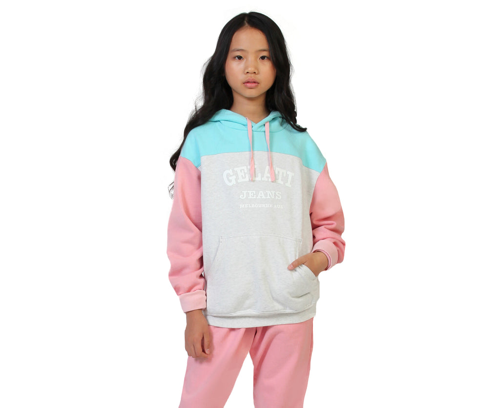 teen girl colour block fleece hoodie pink grey and blue