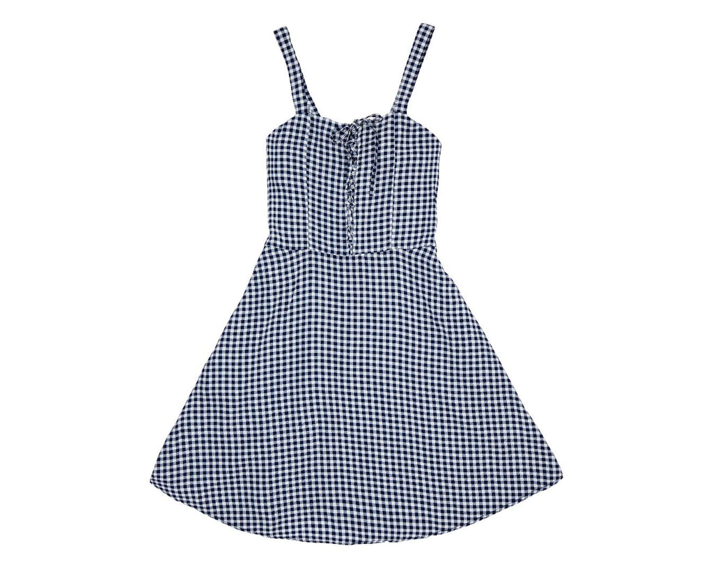 teen girls summer blue and white gingham tie front flare dress