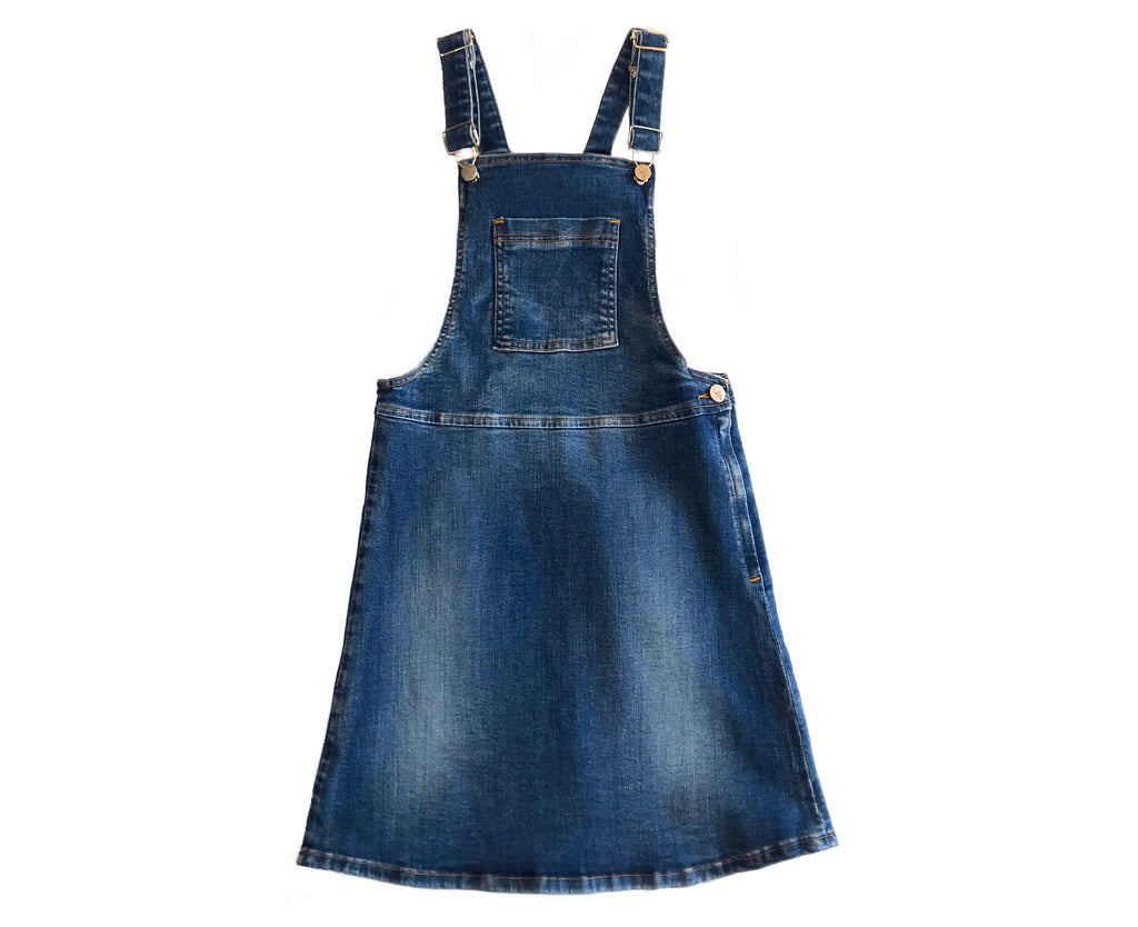 Veronica Mid Wash Denim Pinafore