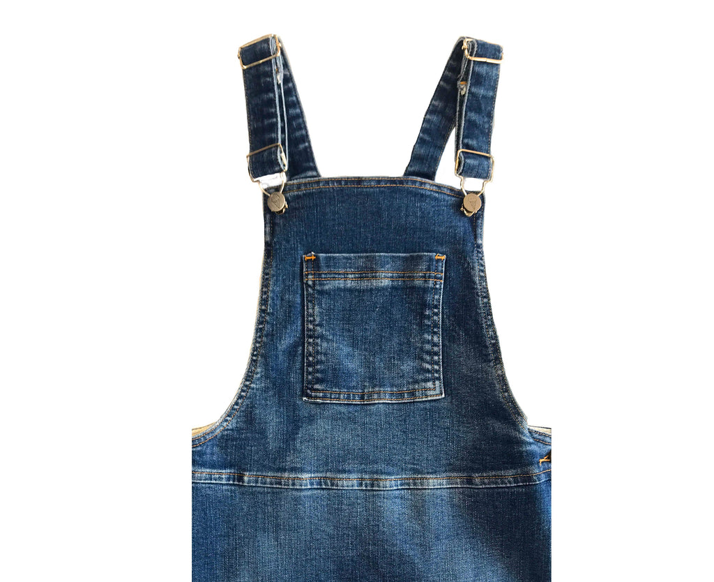 dark blue denim pinafore for young girls