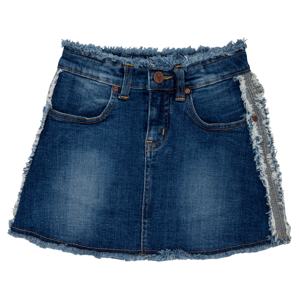 teen girl frayed skirt with raw edge detail